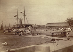 Kidderpore Dock, with steamer 'Mayo' passing through 60 ft dock. The first steamer that entered the Dock [Calcutta]